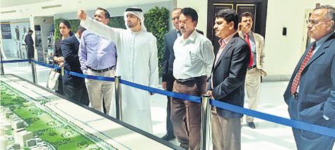 Jupally Krishna Rao with industrialists in Dubai