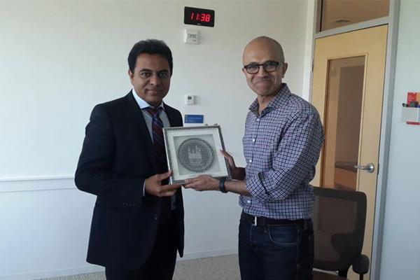KTR with Microsoft CEO Sathya Nadella