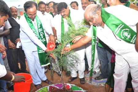 CM KCR planted sapling in Chilkur