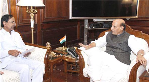 CM KCR met Union Home MInister Rajnath singh