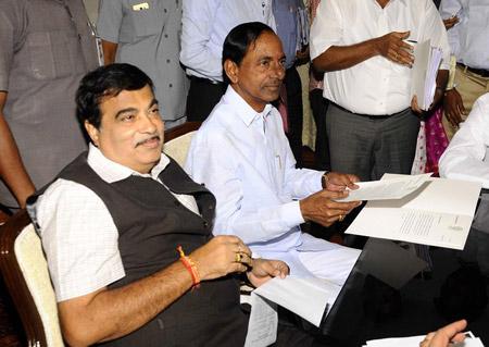 CM-KCR-met-union-minister-for-roadways-Nithin-Gadkari