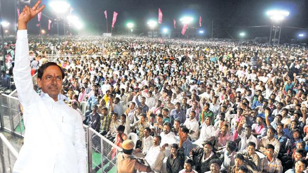 KCR addressing in Warangal public meeting
