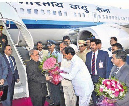CM KCR welcomed President Pranab Mukherjee